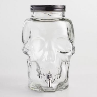 """Банка-емкость с краном """"Череп Fecund"""" 8 литра. Лимонадник стеклянный с крышкой 8000 мл"""